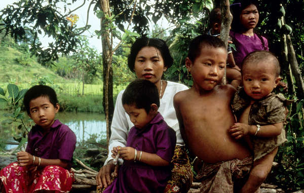 Chakma family from the Chittagong Hill Tracts in Bangladesh