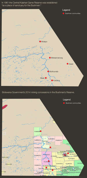 These maps shows mining concessions on Bushman land inside the Central Kalahari Game Reserve in 2014.