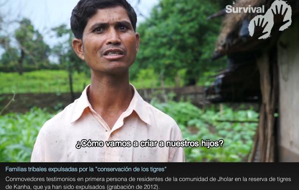 """""""Después de que su comunidad fuera expulsada de la Reserva de Tigres de Kanha en 2014, Sukhdev, este hombre baiga, fue asesinado tras intentar comprar tierra para su familia."""""""