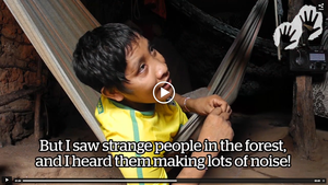 Watch Irahoa recount how he had to hunt on his own and flee from the loggers in his forest.