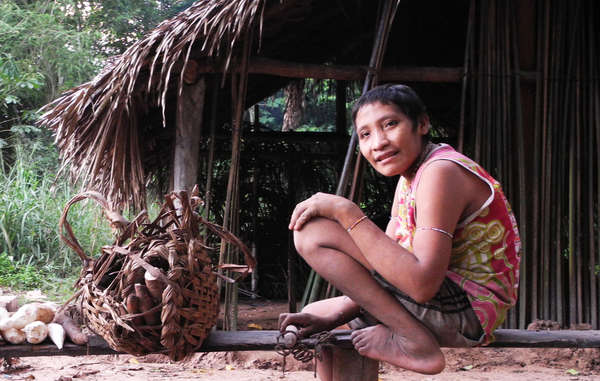 """Irahoa Awá and his family were forced out of their forest home after being surrounded by loggers. """