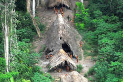 Uncontacted Indians in Brazil, May 2008. Many are under increasing threat from illegal logging over the border in Peru.