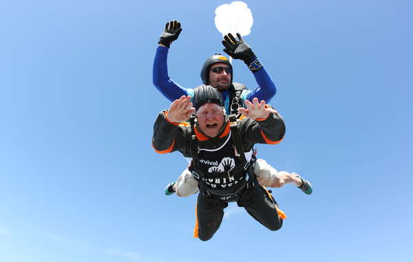 """One of Robin Hanbury-Tenison's challenges included skydiving from about 4000 meters."""