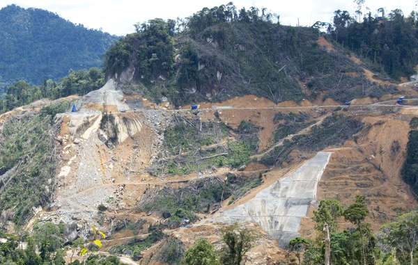 Murum Dam construction, Sarawak, Borneo, Malaysia.