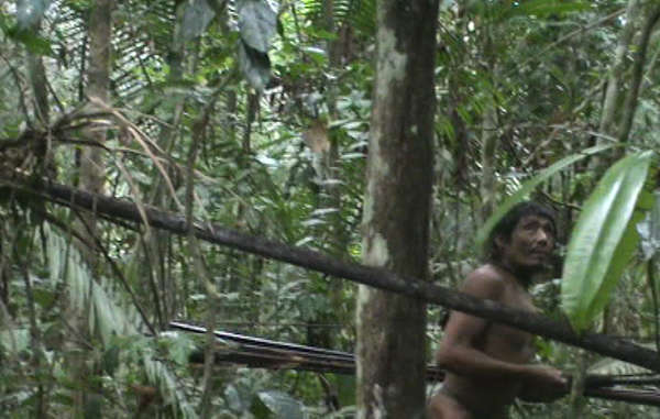The last of the Kawahiva are forced to live on the run from armed loggers and powerful ranchers. Image taken from rare footage from a chance encounter with government agents.