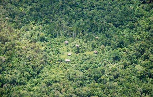 Korowai-Baumhäuser aus der Luft, West-Papua.