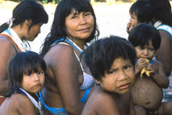 """Marubo woman & children, Javari Valley, Brazil """