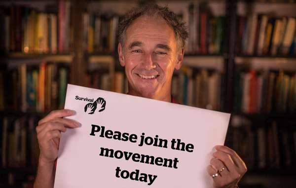 Survival ambassador Mark Rylance during the recording of the film in Survival's London office