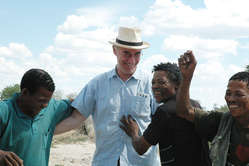 The Bushmen's lawyer Gordon Bennett represented them at their successful Appeal Court hearing.