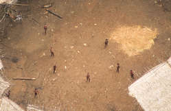 """""""Uncontacted Yanomami seen from the air in the center of their yano, estimated to be home to around 100 individuals."""""""
