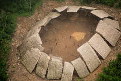 """""""Uncontacted Yanomami yano (communal house) in the Brazilian Amazon, photographed from the air in 2016."""""""