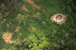 """""""Uncontacted Indians' yano in the Yanomami indigenous reserve. At least 3 groups of them are known to be uncontacted."""""""