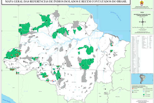 Brazilian government agency for tribal peoples, FUNAI, produced this map of areas (colored dark green) that are home to uncontacted tribes.