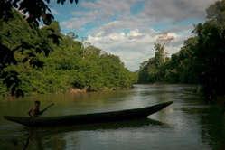 Um menino Yanomami volta de canoa para a sua aldeia na Amazônia brasileira