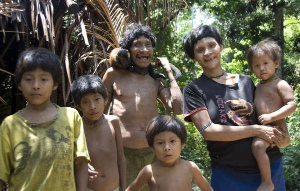 Famille awá. Les femmes awá prennent souvent soin des bébés singes en les allaitant.
