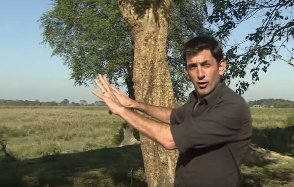 The BBC's Justin Rowlatt, reporting from Kaziranga's unmarked boundaries for his report on conservation in the park. A tribal man was shot for crossing this line to retrieve stray cattle.