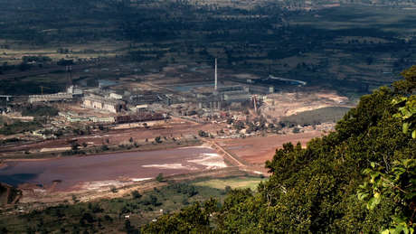 Vedanta's aluminium refinery at Lanjigarh, Odisha, seen from the Niyamgiri Hills.