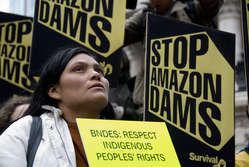 Brazil's state development bank BNDES is providing much of the funding for the mega-dams planned in the Amazon region, which threaten the lives, homes and livelihood of thousands of tribal peoples.