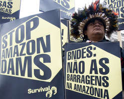 The Indians are calling for three controversial dam projects in the Amazon to be halted.