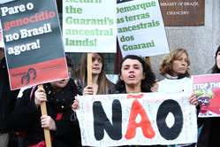Protestors in London call for indigenous rights in Brazil