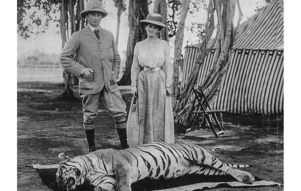 Lord Curzon, viceroy of India, and his wife, pose after a tiger hunt. India, 1902. Hunting by the Raj elite was the main reason for the decline of the Bengal tiger, yet many conservation efforts are now directed at tribal peoples.