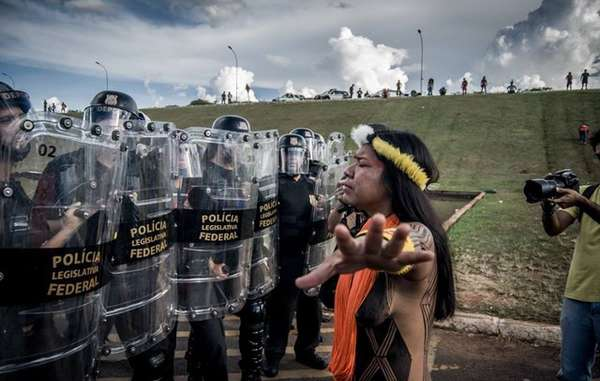 Brazilian Indians have been protesting in Brasilia against the government's anti-indigenous proposals.