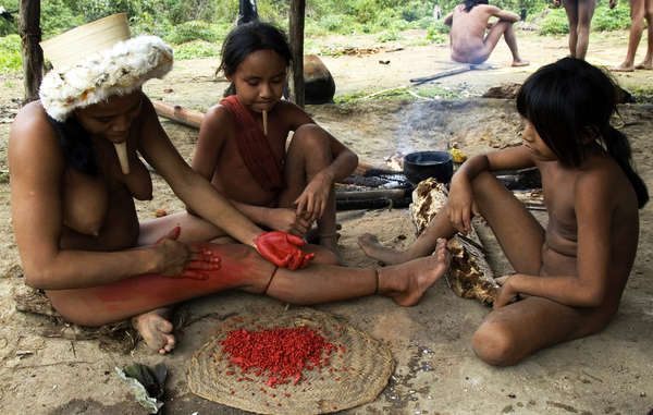 Like many tribal peoples of South America, the Zo&apos; use anatto paste to paint their bodies and faces.