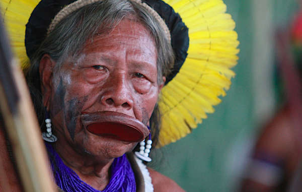Kayapó Indian. Thousands of Indians depend on the Xingu river, which provides them with fish