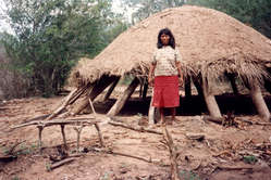 Eine Frau der Ayoreo bei einem Haus, das wegen Abholzung verlassen wurde.