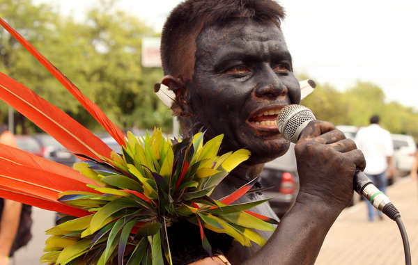 """Yanomami man. The Yanomami and several other Amazonian tribes have joined forces to reject 'devastating' mining."""
