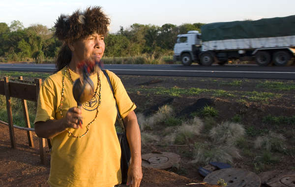 Damiana Cavanha, Guarani leader. Five of her relatives have been run over and killed.