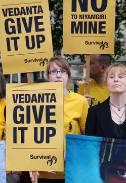 Protesters gathered outside Vedanta's 2011 AGM.