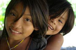 Matsigenka girls, Peru