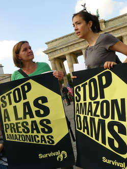 Protesters rallied behind Amazon Indians