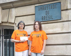 Survival supporters handed in a letter to the Brazilian ambassador in Paris.
