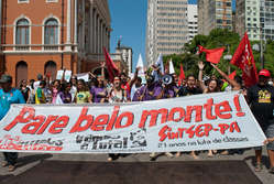 Brazilians protest against Belo Monte dam in the Amazonian city of Belm