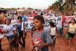 Proteste gegen Belo Monte in Altamira, Brasilien, am 19. August