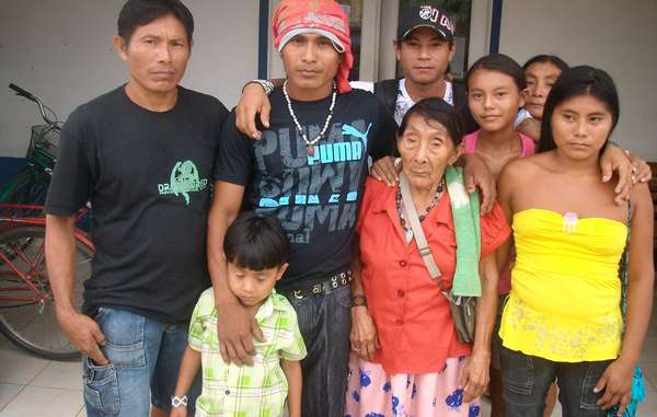 Maria Lucimar Pereira of the Kaxinawá tribe standing with members of her family. She is thought to be the oldest person in the world - she celebrated her 121st birthday in 2011.