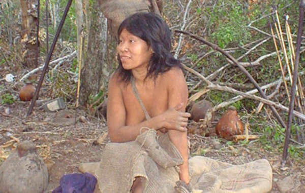Guiejna, an Ayoreo woman, on the day she was first contacted in 2004. Her relatives are still hiding in the forest.