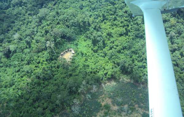"""Aerial photos of an uncontacted Yanomami village were released in 2011. Recent overflights have found the communal house empty."""