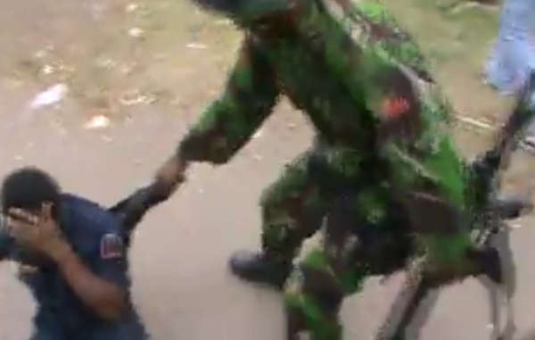 """The shocking footage shows Indonesian soldiers beating West Papuans """