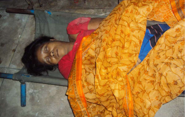 """The body of Chigon Mila Chakma, who was killed on Wednesday"""