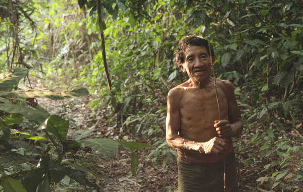 An Awá man whose uncontacted relatives were victims of an alleged attack by loggers