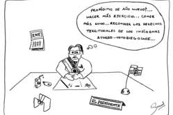 I buoni propositi di Lugo per il nuovo anno in una vignetta di Survival. Fare più esercizio. Mangiare più sano. Riconoscere i diritti territoriali degli Ayoreo-Totobiegosode