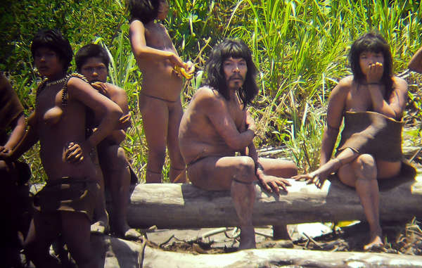 Uncontacted Mashco-Piro Indians on a riverbank near the Manú National Park. 2011.
