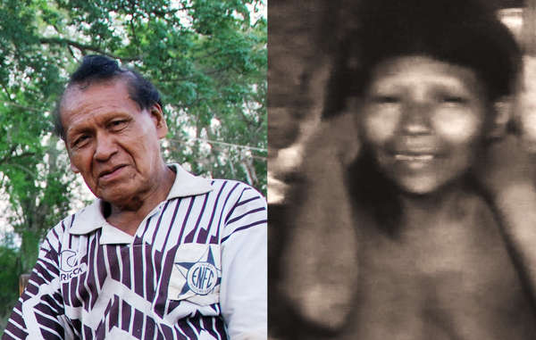 Erui pictured in 2012, and his wife Bajo photographed just after she was captured in 1986.