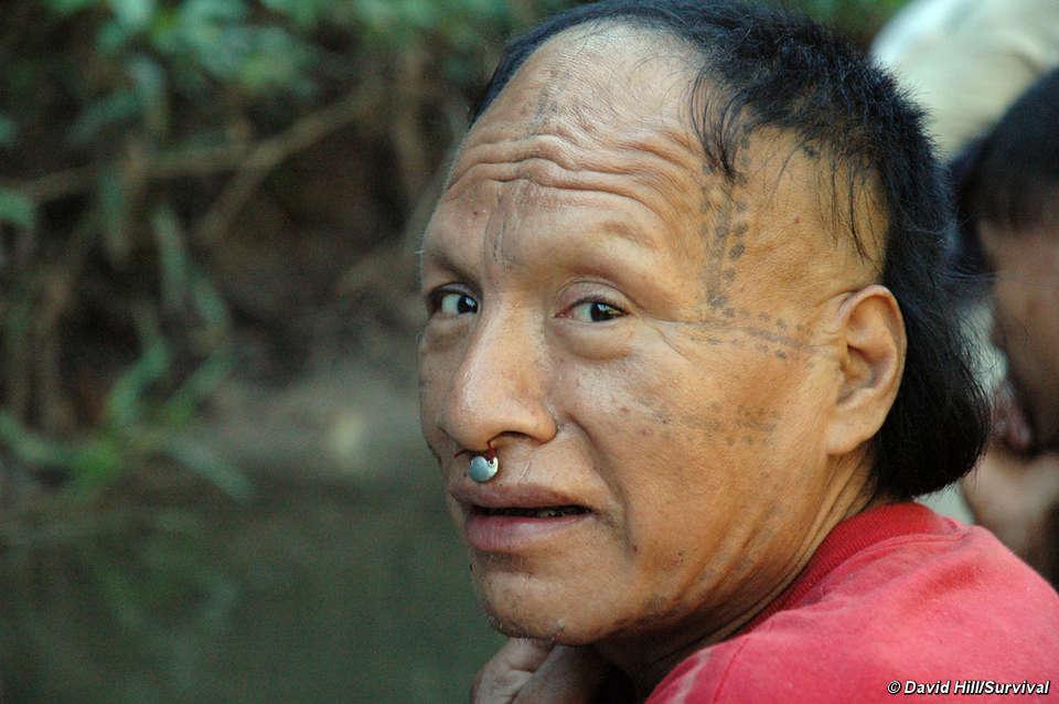 Recentemente contatado homem Mastanahua, Curanja, Rio Peru. © David Hill/Survival