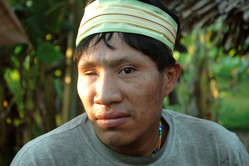 Recently-contacted Murunahua man, Yurua River, Peru.