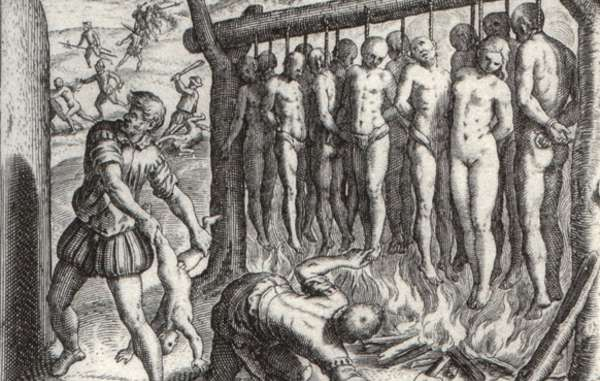 'They made gallows just high enough for the feet to nearly touch the ground ... and they burned the Indians alive.'  Illustration by Theodor de Bry in 'A Short Account of the destruction of the Indies.'