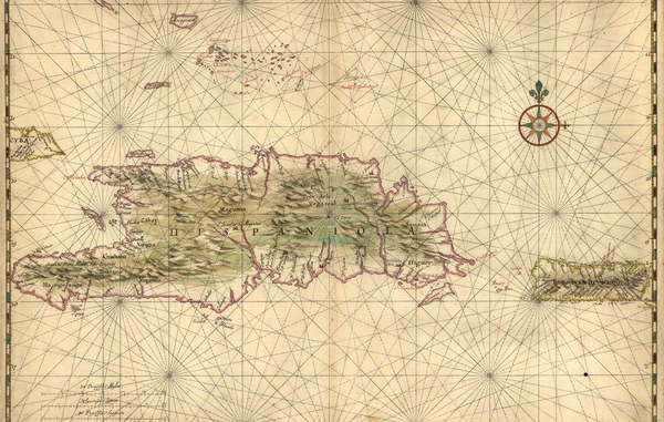Nautical chart of Hispaniola and Puerto Rico by Joan Vinckeboons, circa 1639.